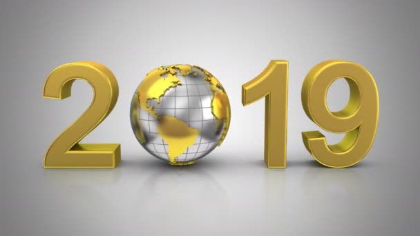 new year 2019 gray background loop 226 450th frames alpha stock video