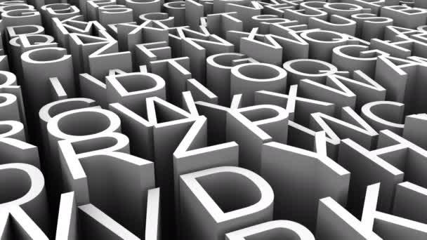Hintergrund der Buchstaben. abstrakter Hintergrund, Schleife, erstellt in 4k, 3D-Animation