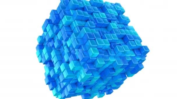Krabice tvoří krychle. Abstraktní pozadí, 2 v 1, smyčka, Alfa podkladu, vytvořené v 4k, 3d animace