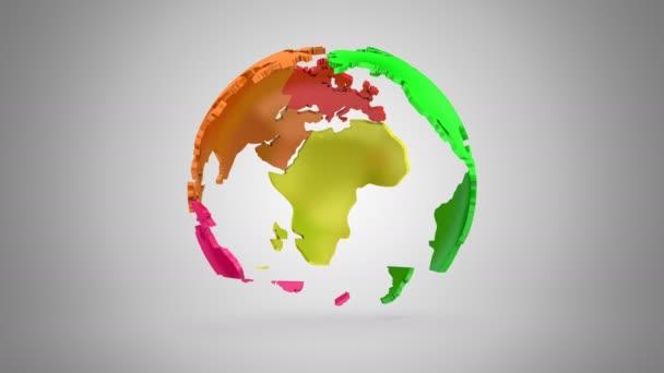 Schrittweise Rotation der Erde. Grauer Hintergrund, 2 in 1, Schleife (151-600 Frames), erstellt in 4k, alpha Matte, 3d animation