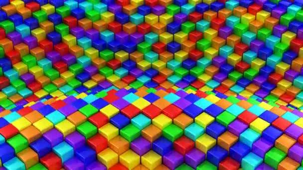Kisten bildeten eine Welle. abstrakter Hintergrund, Schleife, erstellt in 4k, 3D-Animation