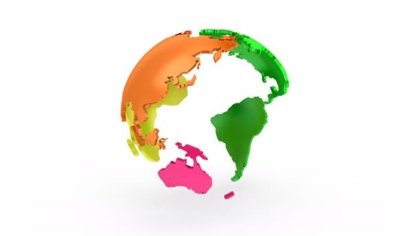 Lépésenkénti a Föld forgása. Fehér háttér, 2-1, hurok (151-600 képkocka), készítette a 4k, alfa-Matt, 3d animáció