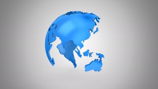 stufenweise Rotation der Erde. grauer Hintergrund, 2 in 1, Loop, erstellt in 4k, Alphamatt, 3D-Animation