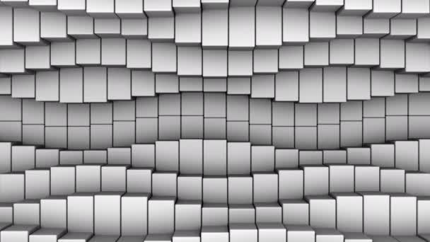 Dobozok egy hullámot alkotnak. Absztrakt indítvány, loop, 3d renderelés, 4k felbontás