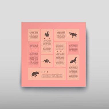 """Картина, постер, плакат, фотообои """"Плакат Инфографика диких животных на фоне размыто в стиле абстрактного. Векторные иллюстрации с графические схемы"""", артикул 206437784"""