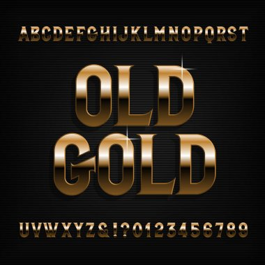 Golden alphabet font. Beveled vintage letters, symbols and numbers. Stock vector typography for typography design.