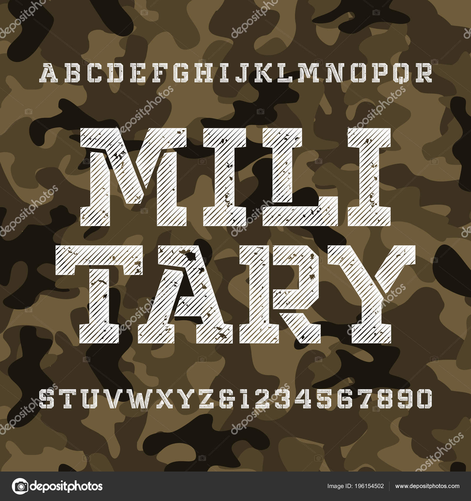 Military Stencil Alphabet Font Distressed Type Letters