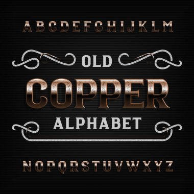 Old copper alphabet font. Vintage scratched metal letters. Stock vector typeface for your design.