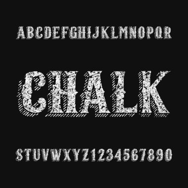 Chalk board alphabet font. Hand drawn letters and numbers. Stock vector typeset for any typography design.