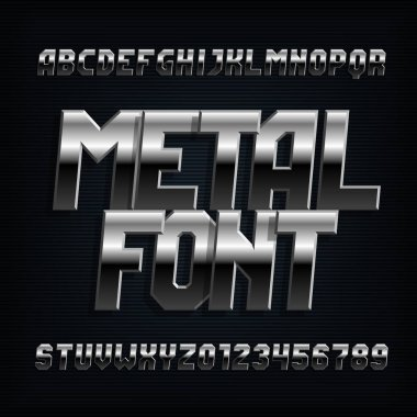 Metal alphabet font. Chrome effect oblique letters, numbers and symbols. Stock vector typeset for typography design.