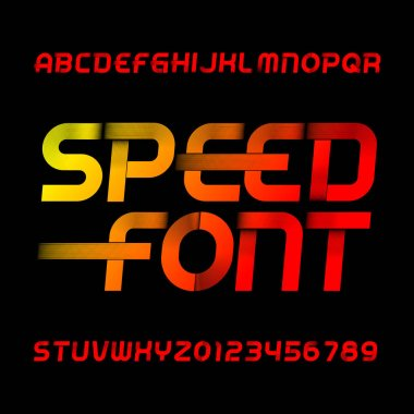 Speed alphabet font. Wind effect type letters and numbers on black background. Stock vector typeset.