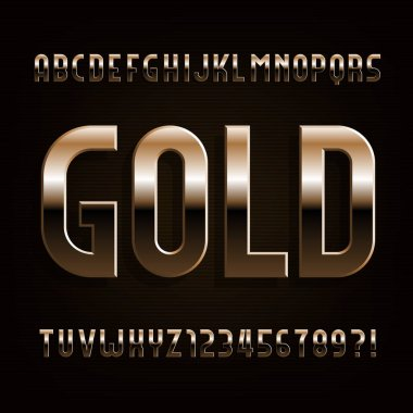 Gold alphabet font. Beveled metallic letters, numbers and symbols. Stock vector typeface for typography design.