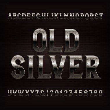 Old silver alphabet font. Vintage distressed metal letters and numbers. Stock vector typeface for typography design.