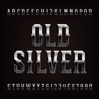 Old silver alphabet font. Vintage metal with patina letters and numbers. Stock vector typeface for typography design.