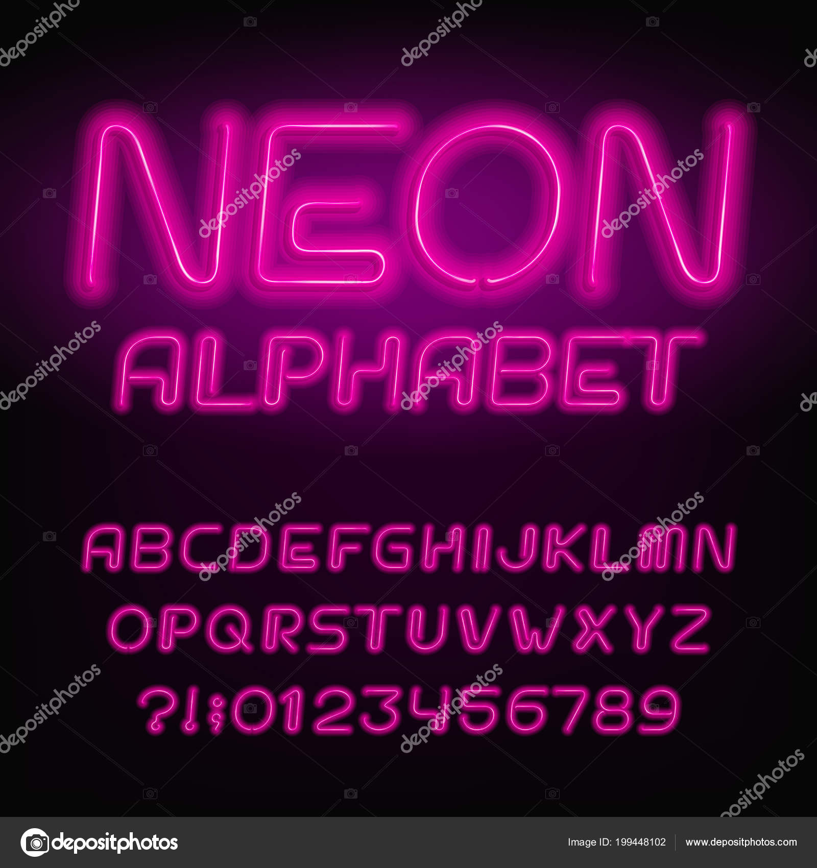 Neon Tube Alphabet Font Neon Color Letters Numbers Retro Vector ...