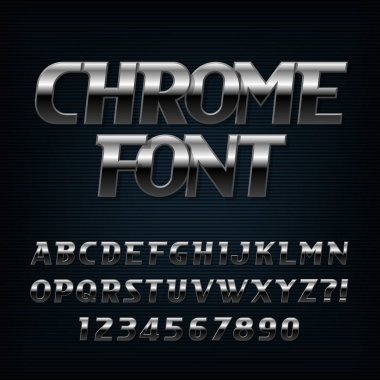 Chrome alphabet font. Steel effect oblique letters and numbers. Stock vector typeface for typography design.