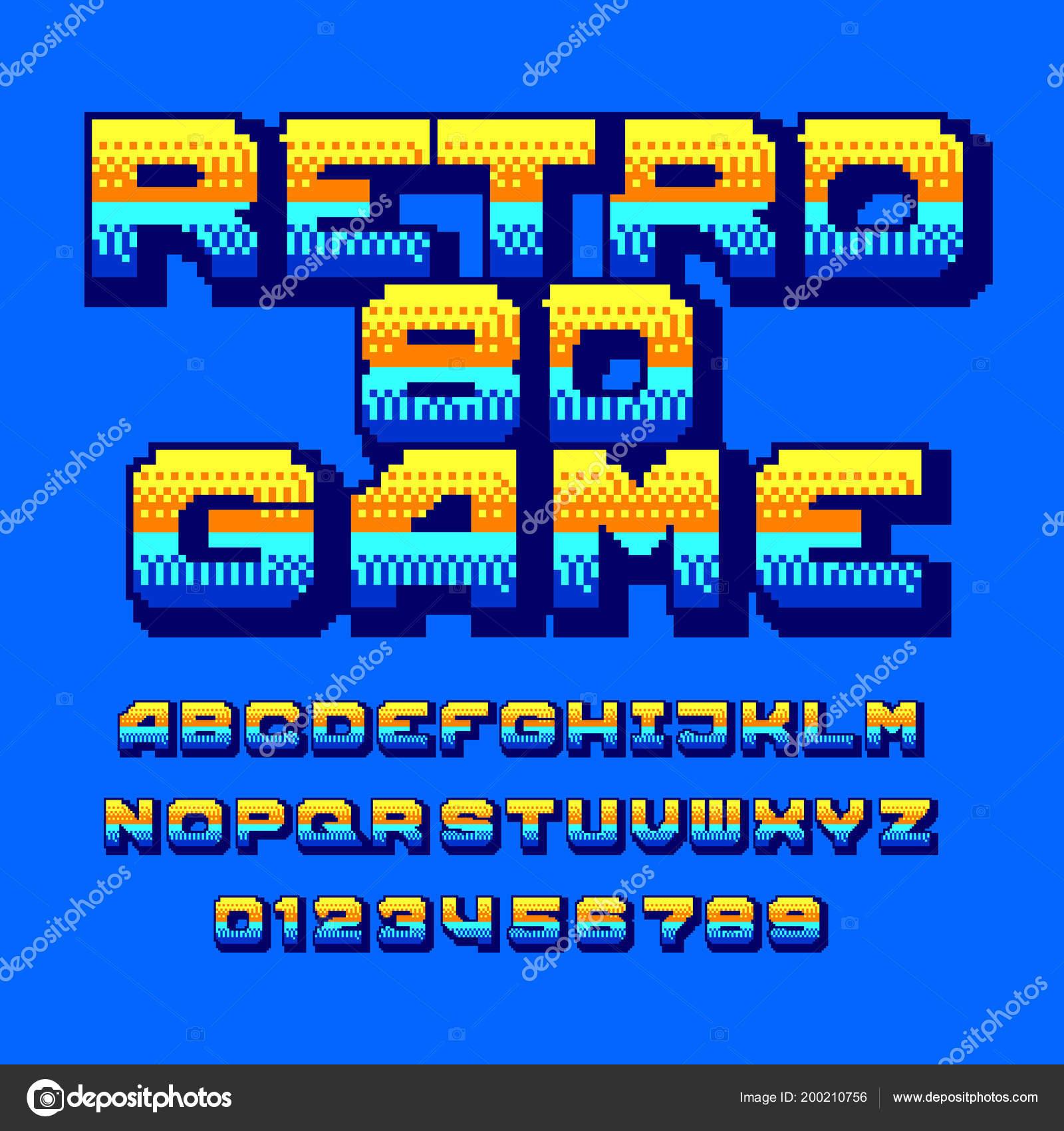 Retro Computer Game Alphabet Font Colorful Pixel Gradient Letters Numbers Stock Vector C Epifantsev 200210756