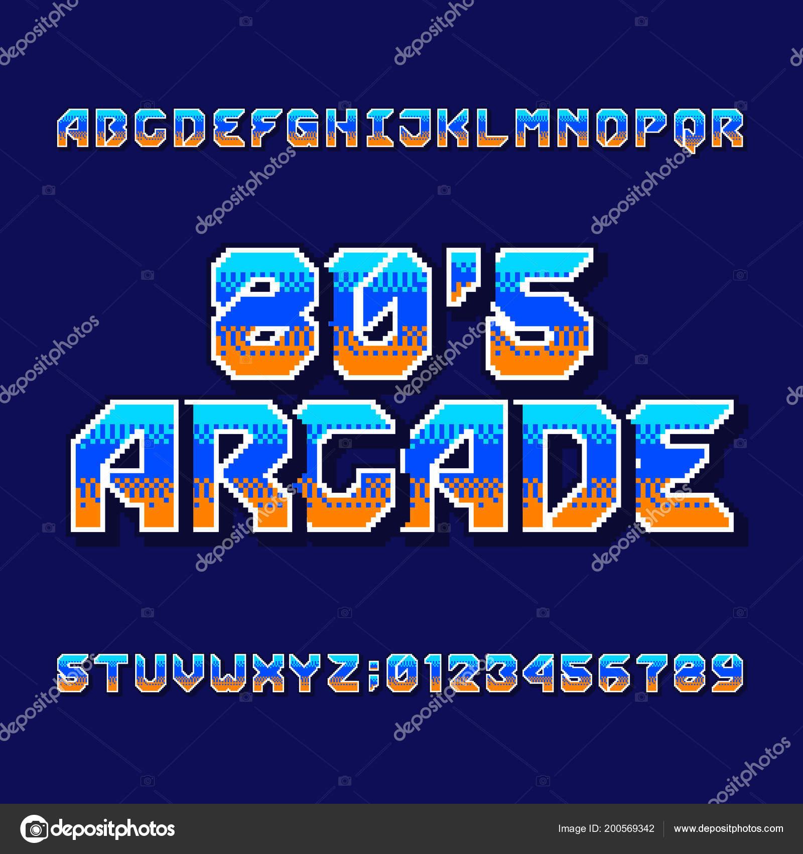 Retro 80S Computer Game Alphabet Font Digital Pixel Gradient