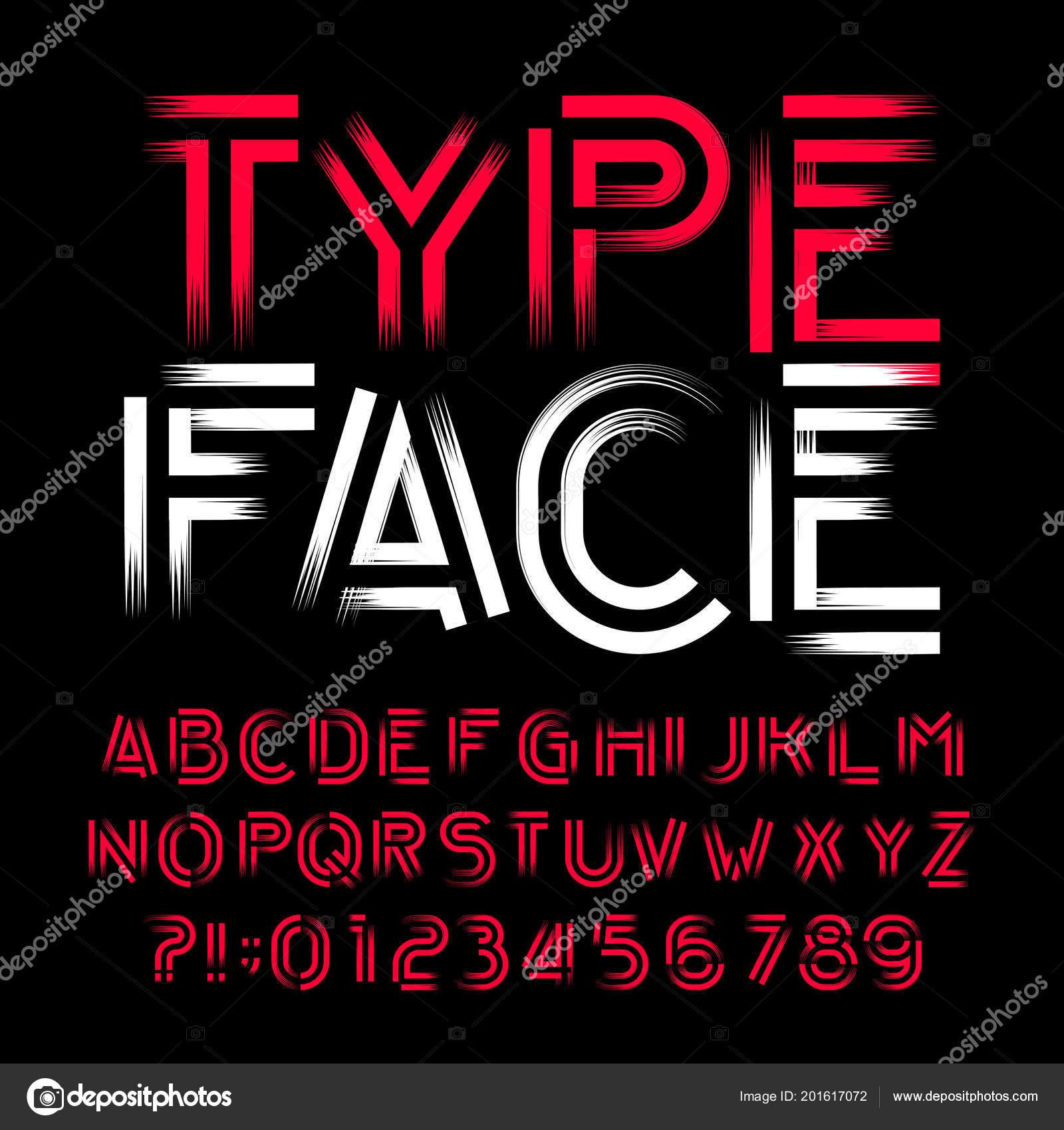ff9bfd11e Tipo de letra de alfabeto moderno abstrato. Decorativa tipo letras e números  em fundo preto. Fonte de vetor para seu projeto — Vetor de ...