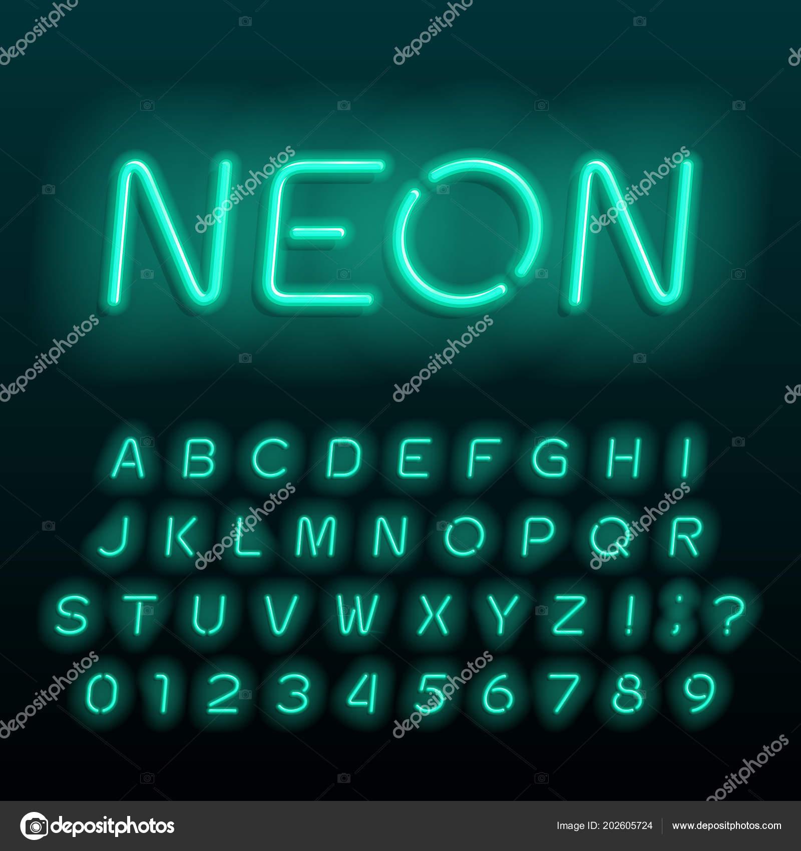 neon lamp alphabet font neon color oblique letters numbers symbols stock vector