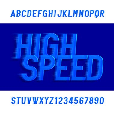High speed alphabet font. Wind effect type letters and numbers. Stock vector typeface.