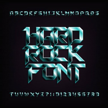 Hard rock alphabet font. Metal effect beveled letters, numbers and symbols. Stock vector typeface for your design.