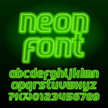 Neon lamp alphabet font. Neon color lowercase letters, numbers and symbols. Stock vector typeface for any typography design.