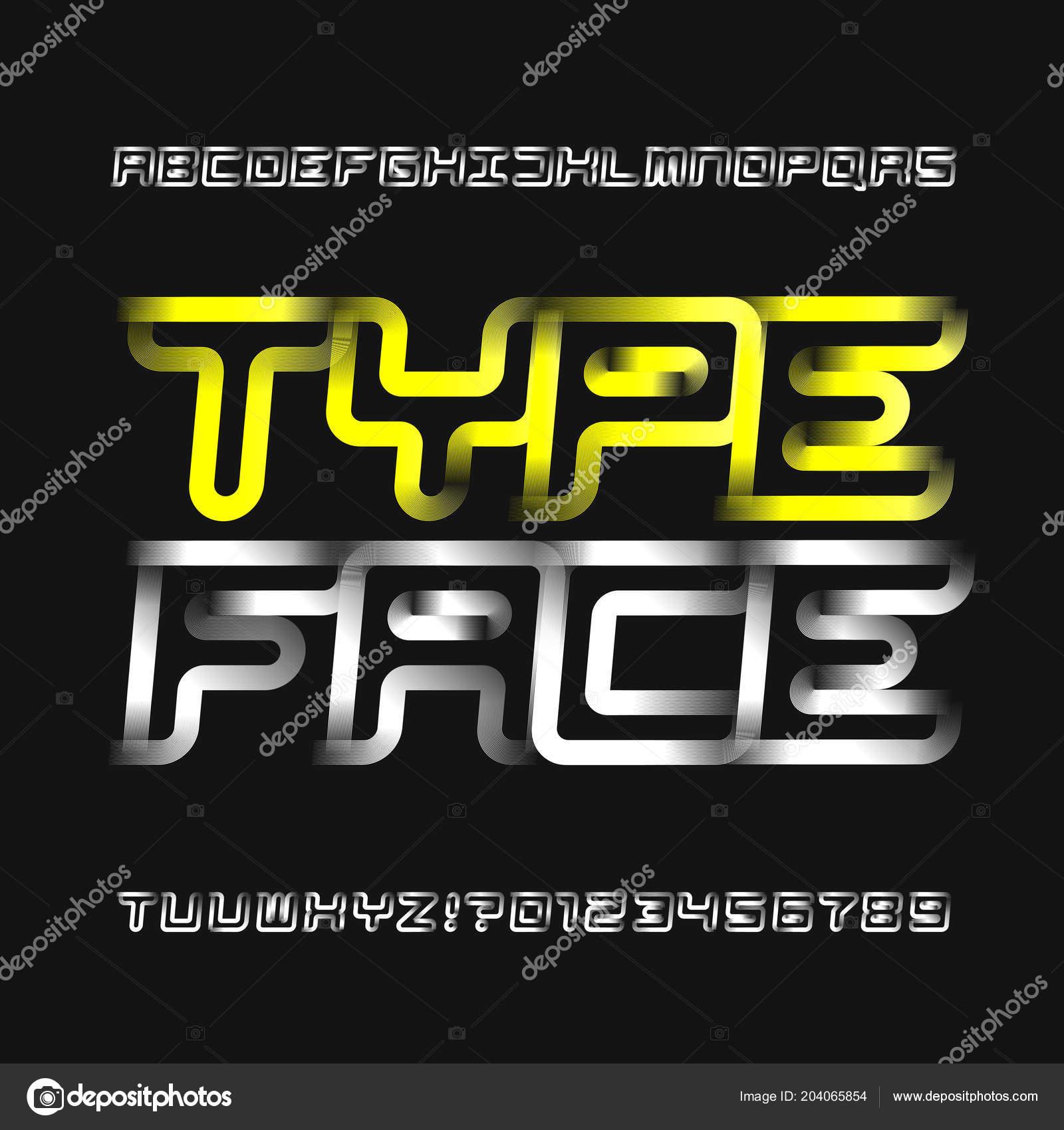 23ae6f8de Tipo de letra de alfabeto moderno abstrato. Esporte moderno estilo letras e  números. Fonte de vetor para seu projeto — Vetor de ...