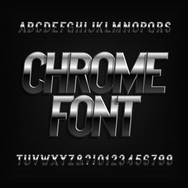 Beveled chrome alphabet font. Metal effect oblique letters and numbers. Stock vector typeface for typography design.