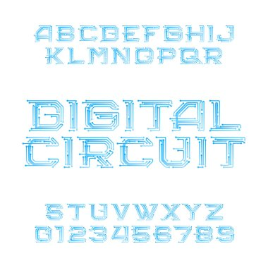 Digital circuit board alphabet font. Digital hi-tech style letters and numbers. Stock vector typeface for your design.