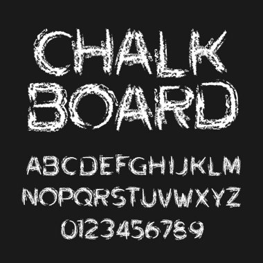 Chalk board alphabet font. Hand drawn messy letters and numbers. Stock vector typography.
