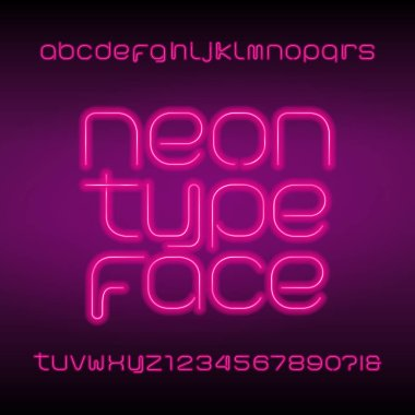 Neon tube alphabet font. Neon color lowercase letters, numbers and symbols. Stock vector typeset for any typography design.