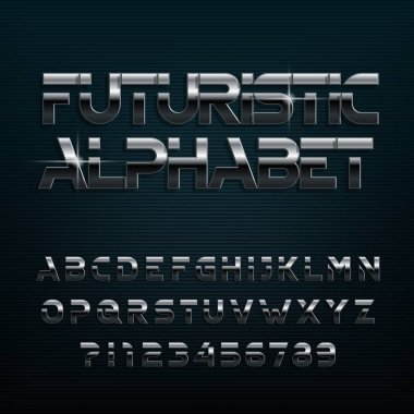 Futuristic alphabet font. Chrome effect oblique and numbers. Stock vector typeface for typography design.