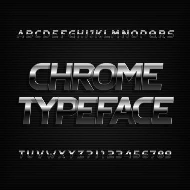 Beveled chrome alphabet font. Metal color oblique letters and  numbers. Stock vector typography.