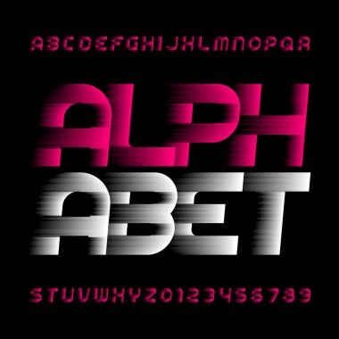 Abstract alphabet font. Speed effect type letters and numbers. Stock vector typeface.