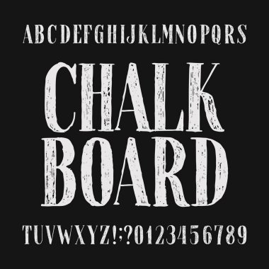 Chalk board alphabet font. Hand drawn distressed letters, numbers and symbols. Stock vector typeface.