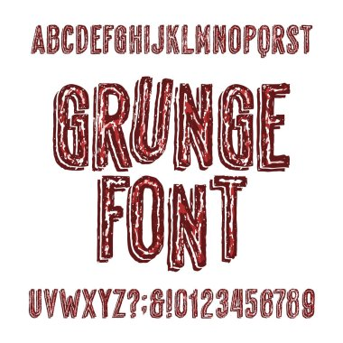 Grunge alphabet font. Hand drawn messy letters, numbers and symbols. Stock vector typeface.