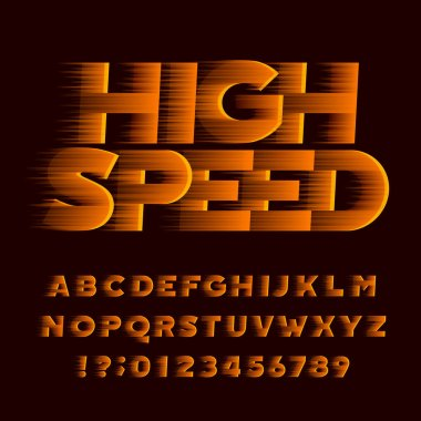 High speed alphabet font. Wind effect oblique type letters and numbers. Stock vector typeface.