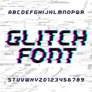 Glitch alphabet font. Distorted type letters and numbers on a bright glitched background. Stock vector typeface.