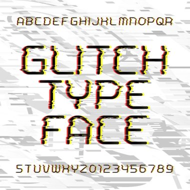 Glitch alphabet font. Broken letters and numbers on a bright glitched background. Stock vector typeface.