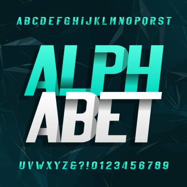 Abstract alphabet typeface. Modern style oblique letters and numbers. Dark abstract background. Stock vector typeface.