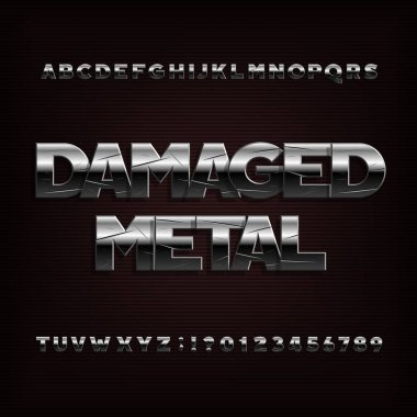 Damaged metal alphabet font. Chrome effect letters and  numbers. Stock vector typography.