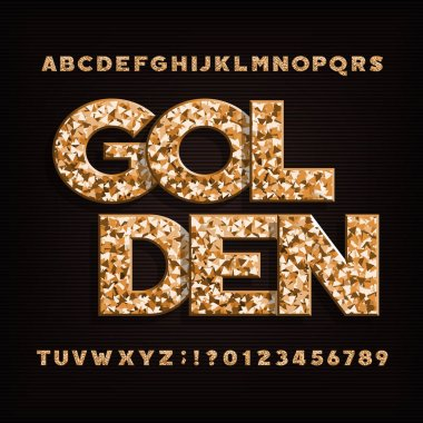 Golden alphabet font. Metal glitter letters, numbers and symbols. Stock vector typeface.