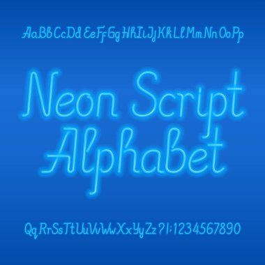 Neon tube alphabet font. Neon color lowercase and uppercase letters, numbers and symbols. Stock vector typeface for any typography design.