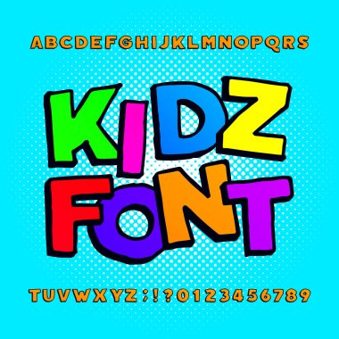 Kids alphabet font. Cartoon funny colorful letters, numbers and symbols on a halftone background. Stock vector typeface for any typography design.
