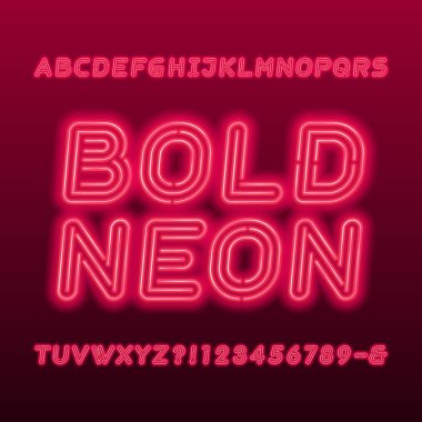 Neon lamp alphabet font. Neon color bold oblique letters, numbers and symbols. Stock vector typeface for your typography design.