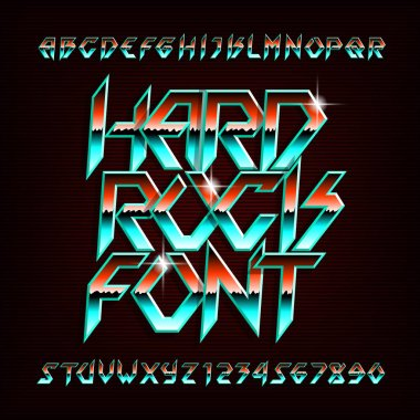 Hard Rock alphabet font. Metal effect shiny letters, numbers and symbols in retro colors. Stock vector typeface for your design.