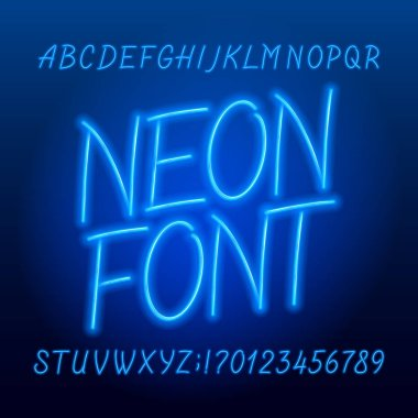 Neon tube alphabet font. Neon color script letters, numbers and symbols. Stock vector typeface for your typography design.