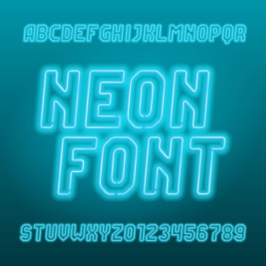 Light blue neon tube alphabet font. Neon color oblique letters, numbers and symbols. Stock vector typeset for your typography design.