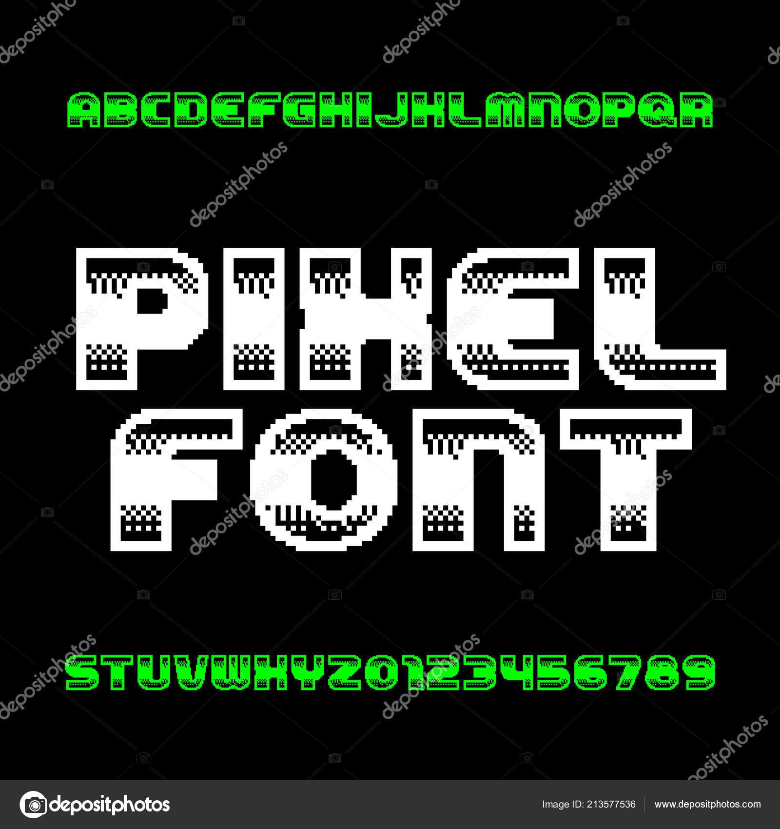 80s Arcade Sign Retro Computer Game Alphabet Font Monochrome Pixel Letters Numbers 80s Stock Vector C Epifantsev 213577536